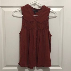 American Eagle, burnt orange sleeveless top, S